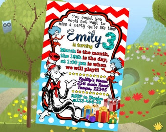 Dr. Seuss Invitation, Dr. Seuss Birthday Invitation, Dr. Seuss Birthday, Dr. Seuss Party, Dr. Seuss First Birthday Dr. Seuss Invitation,