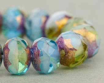 Czech glass Rondelle (7x5mm) Aqua, Olivine, and White Mix Opaque and Transparent with Bronze Finish , (10 beads), UK beads