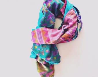 Saffron Silk - Pink and Blues