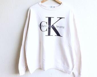 Rare! Vintage 90s CALVIN KLEIN JEANS big logo sweatshirt cream colour large size