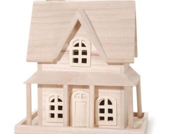Fairy Garden Dollhouse Miniature Unpainted House