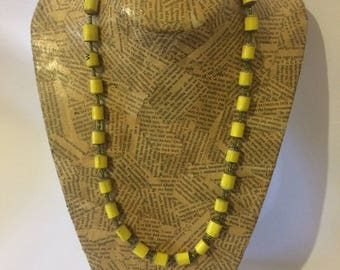 Yellow Paper Bead Necklace