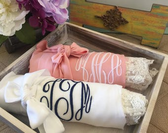 Custom bridesmaid robes set of 10, bridesmaid gifts, cotton lace robes, bridal robes, wedding gifts, getting ready robes, bridal party robes