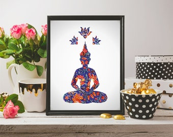 Buddha Wall Art, Bohemian Home Decor, Digital Print, Buddha Print, Buddha Home Decor, Wall Art, House Decor, Fabric Print, Buddha Art
