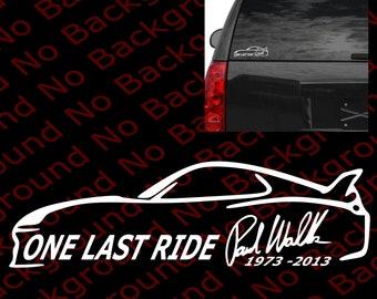 Paul Walker Decal Etsy - Custom die cut vinyl stickers fast