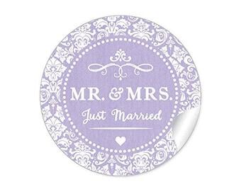 "24 STICKERS: 'MR. & MRS. -Just married""beautiful wedding stickers pale purple"