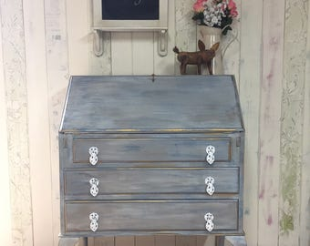 Vintage Annie Sloan claw foot and ball bureau, with working lock and key