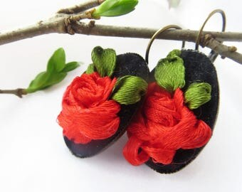 ChristmasInJulySALE Black red dangle earrings leverback  Fabric red jewelry Embroidered jewelry earrings red rose Fabric earrings with rose