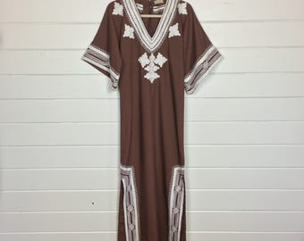 Vintage 1970s Brown Embroidered Caftan Dress / Made by Tesoro's / Boho / Bell Sleeve