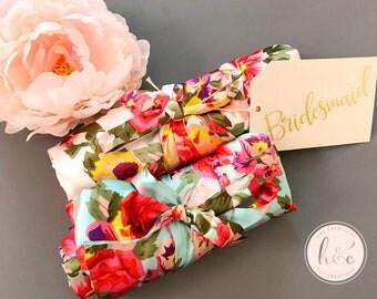 Set of 2 3 4 5 6 7 8 9 10 Bridesmaid robes, Bridesmaid Gifts, Bridal robes set, Gift for Bridesmaid, Floral Robe, Satin Robe