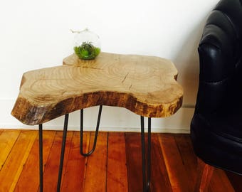 Live Edge Urban Ash Accent Table / End Table / Side Table / Modern / Rustic / Reclaimed