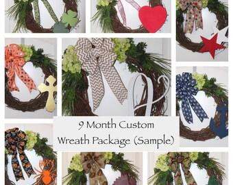 9 Month Custom Wreath Package - Front Door Wreath, Everyday Wreath, Wood Monogram, 8 Themes