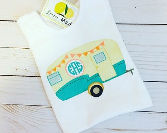 Retro Camper tank or t with name or monogram