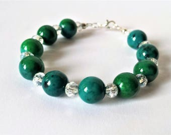 Green chrysocolla and clear crystal bead bracelet