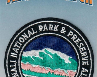 Alaska Round Iron On Patch Denali National Park