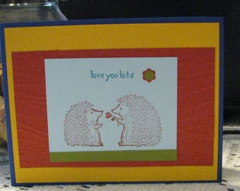 """A """"love you lots"""" card 4 1/4 by 5 1/2 with envelop."""