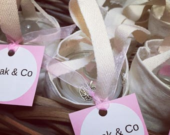 Charmed soy wax candle with limited edition Mini tote bag .