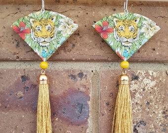 Eye of the tiger tassel earrings.