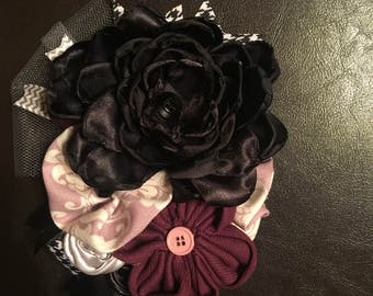 Black and plum Floral pin