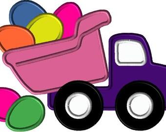 Easter Egg Dump Truck Applique Design