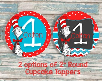 Dr. Seuss Cupcake Toppers - Personalized Cupcake Topper - Digital Download