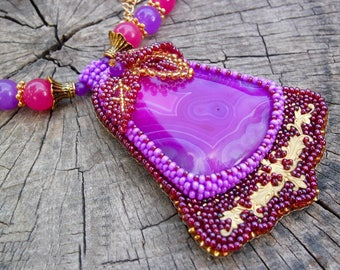 Agate necklace Melissa - beaded necklace - bead embroidery necklace - purple necklace - natural stones necklace - handmade jewelry