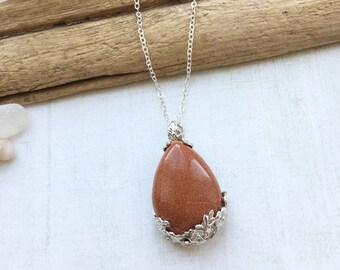 Goldstone Flower Pendant Necklace, Boho Crystal Necklace