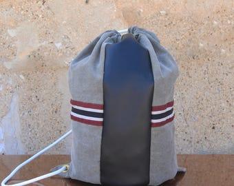 Denim & Leather Drawstring Backpack