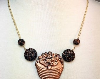 Eco Resin lacquered Copper Basket Pendant Necklace