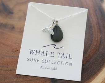 Whale Tail Charm and Black Gem Pendant Necklace