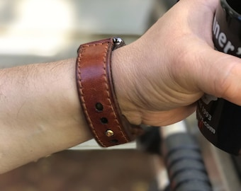 Handcrafted Leather Watch Strap - Buck Brown - Full Grain Harness Leather Watch Strap - 3mm thick - Brown Stitching