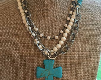 Turquoise Magnesite cross necklace