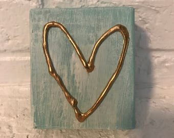 Small blue gold leaf heart
