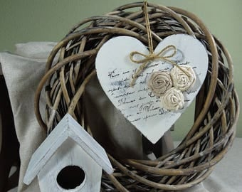 Wooden heart, wood heart with flower