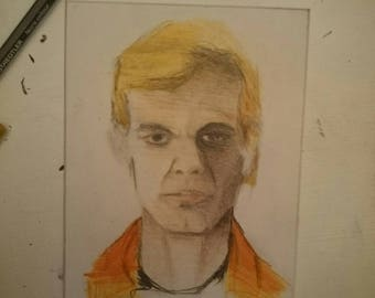 Original hand drawn Jeffrey Dahmer pencil sketch on card