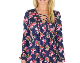 Lace Up Floral Print Tunic