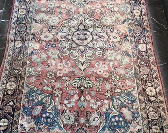 Persian Rug FREE SHIPPING !  4.1 x 6.5 ft  Red Cappuccino Mute Color Vintage  Handmade Tehran  Rug