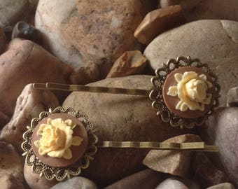 Coffee Bronze Vintage Peony Flower Cameo Hair Bobby Kirby Clips Grips Slides Pins - Handmade - Brand New