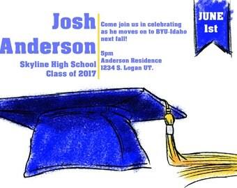 Blue Cap Graduation Announcement