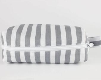Gray and white striped Pouch // Makeup Bag // Pencil Case // Boxy // Cute // Nylon Zipper // 100% cotton