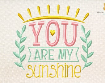 You are my sunshine - design for boy or girl - baby embroidery - instant download machine embroidery design