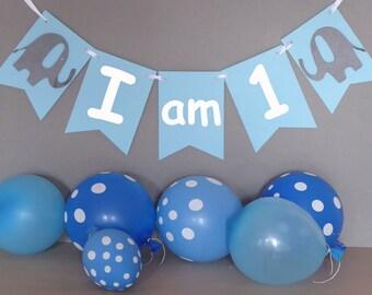 I am 1 birthday bunting, baby boy's first birthday party decor, elephant birthday backdrop