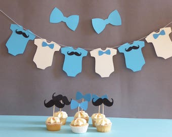 Little man baby shower banner and cupcake toppers, Mustache and bow tie baby shower decor, Onesie banner