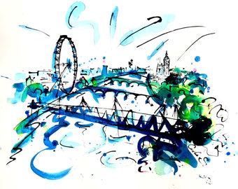 River Thames view to Big Ben & The London Eye