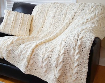 Chunky Knit Blanket Large Cable Knit Blanket Blanket Vintage Knit Throw Knitted Blanket Ready to Go