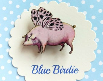 SALE Pig brooch pig jewelry pigs might fly jewellery flying pig badge accessories pigs might fly gift kitsch gift birthday gift