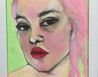 Self portrait in pink and green