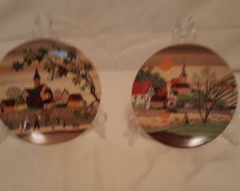 Poole Pottery Transfer Plates x 2 - Spring and Autumn Seasons