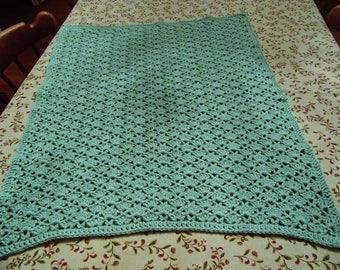 Fan and V-stich honeydew baby afghan/blanket