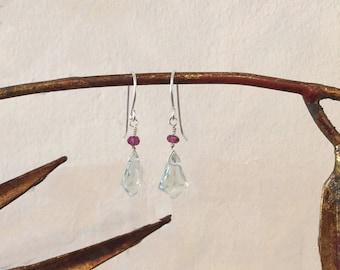 SOLD Prasiolite and Amethyst Earrings